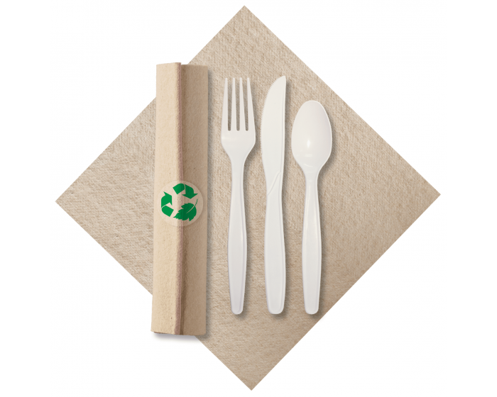 PRE-ROLLED LINEN LIKE NATURAL w/CUTLERY MADE OF RENEWABLE