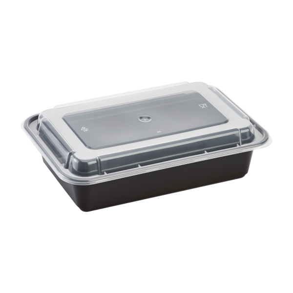 "8.8""x6.1x1.9"" RECT FOOD  CONTAINER, MICRO COMBO, BLACK"